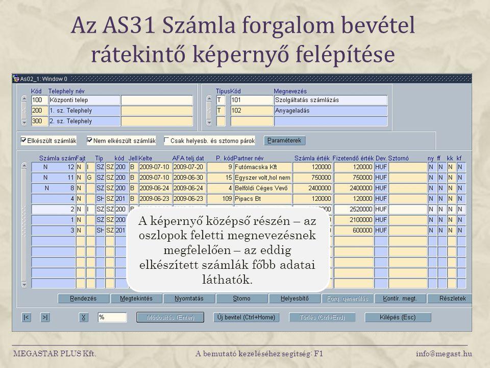Az AS31 Számla forgalom bevétel rátekintő képernyő felépítése MEGASTAR PLUS Kft. A bemutató kezeléséhez segítség: F1 info@megast.hu A képernyő középső