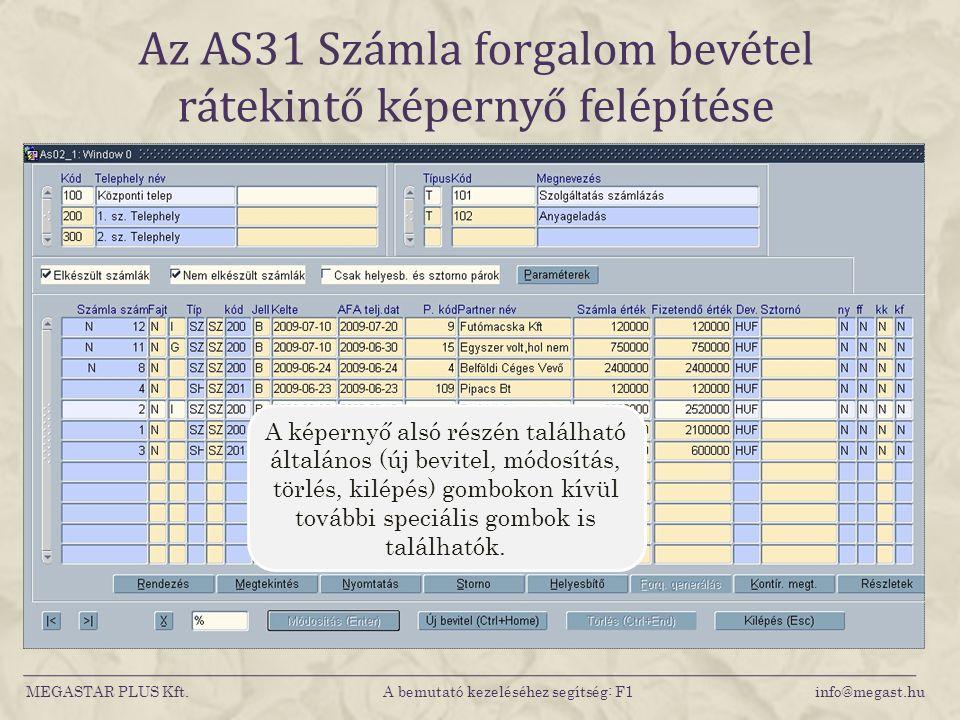 Az AS31 Számla forgalom bevétel rátekintő képernyő felépítése MEGASTAR PLUS Kft. A bemutató kezeléséhez segítség: F1 info@megast.hu A képernyő alsó ré