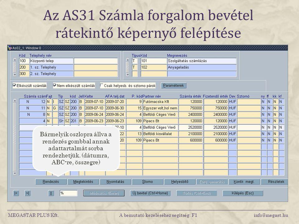 Az AS31 Számla forgalom bevétel rátekintő képernyő felépítése MEGASTAR PLUS Kft. A bemutató kezeléséhez segítség: F1 info@megast.hu Bármelyik oszlopra