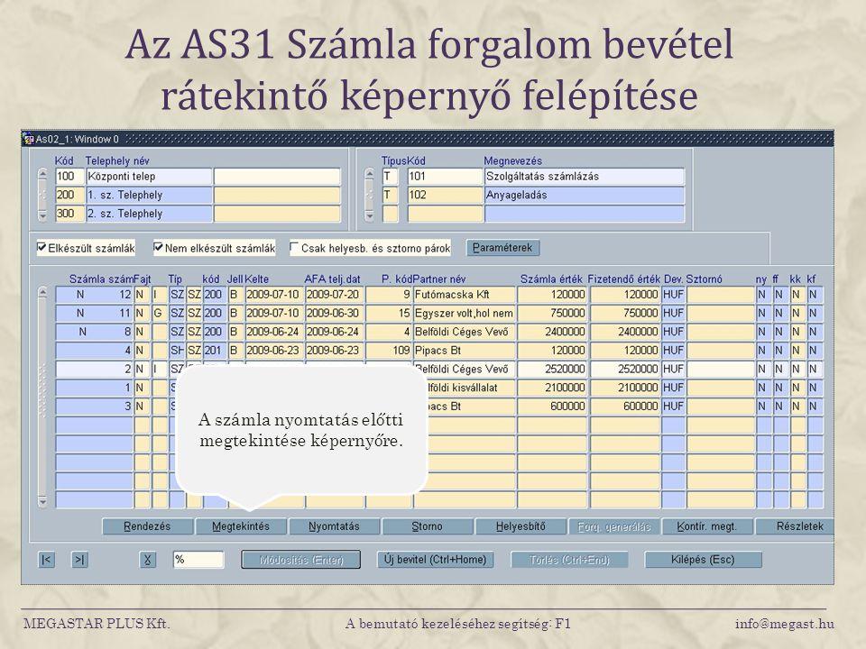 Az AS31 Számla forgalom bevétel rátekintő képernyő felépítése MEGASTAR PLUS Kft. A bemutató kezeléséhez segítség: F1 info@megast.hu A számla nyomtatás
