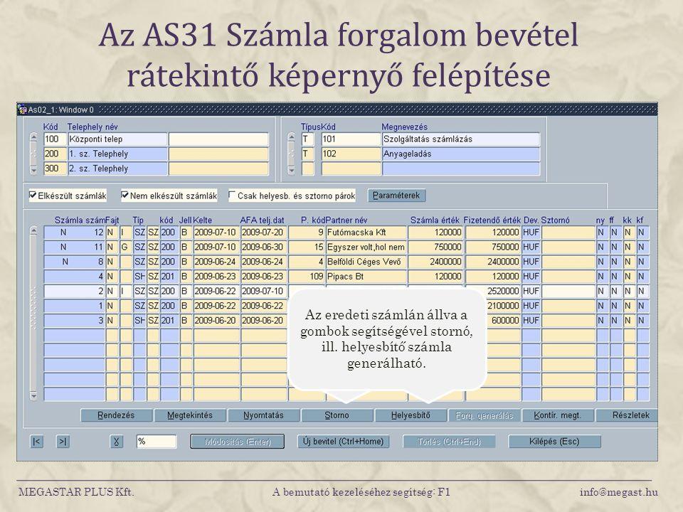 Az AS31 Számla forgalom bevétel rátekintő képernyő felépítése MEGASTAR PLUS Kft. A bemutató kezeléséhez segítség: F1 info@megast.hu A végleges számla