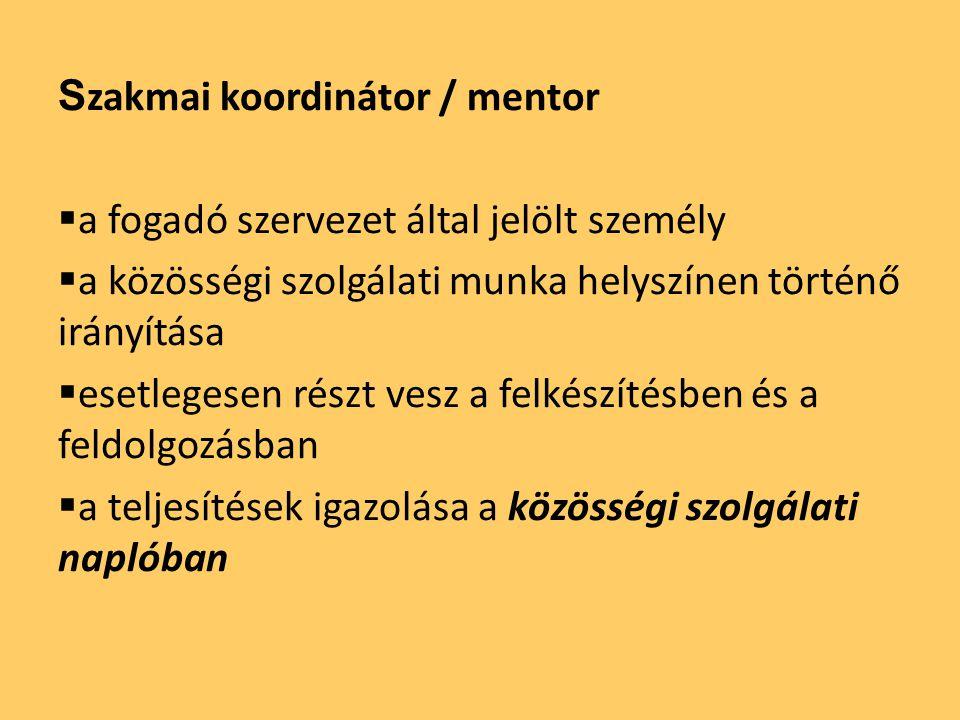 S zakmai koordinátor / mentor  a fogadó szervezet által jelölt személy  a közösségi szolgálati munka helyszínen történő irányítása  esetlegesen rés