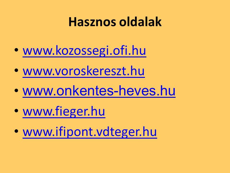 Hasznos oldalak • www.kozossegi.ofi.hu www.kozossegi.ofi.hu • www.voroskereszt.hu www.voroskereszt.hu •www.onkentes-heves.huwww.onkentes-heves.hu • www.fieger.hu www.fieger.hu • www.ifipont.vdteger.hu www.ifipont.vdteger.hu
