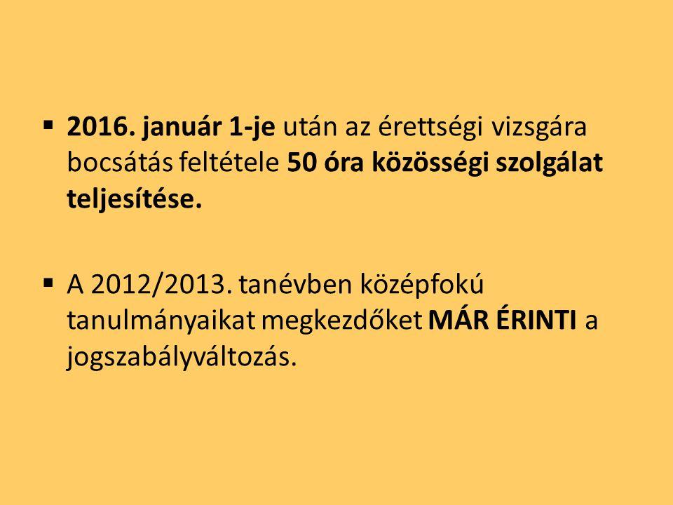  2016. január 1-je után az érettségi vizsgára bocsátás feltétele 50 óra közösségi szolgálat teljesítése.  A 2012/2013. tanévben középfokú tanulmánya