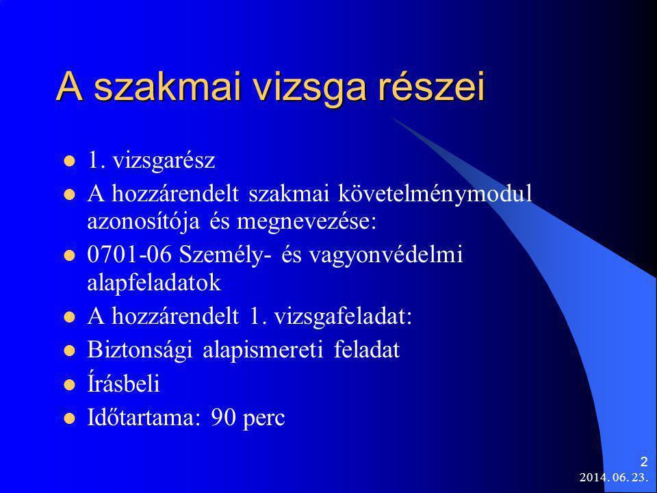 2014. 06. 23. 2 A szakmai vizsga részei  1. vizsgarész  A hozzárendelt szakmai követelménymodul azonosítója és megnevezése:  0701-06 Személy- és va