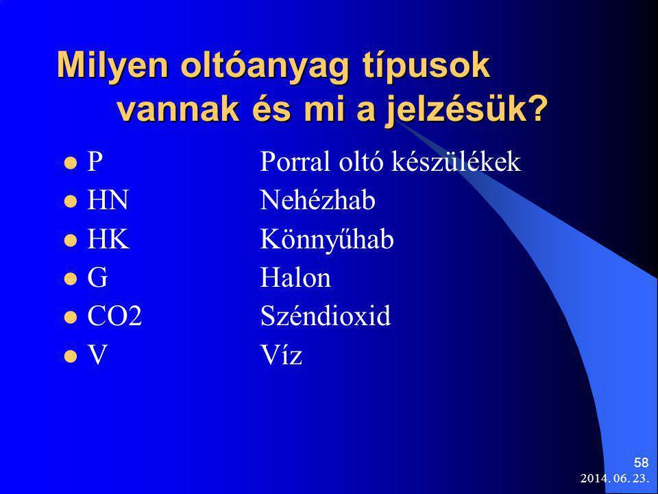 2014. 06. 23. 58 Milyen oltóanyag típusok vannak és mi a jelzésük?  PPorral oltó készülékek  HNNehézhab  HKKönnyűhab  GHalon  CO2Széndioxid  VVí
