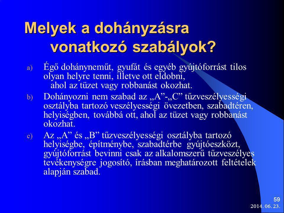 2014. 06. 23. 59 Melyek a dohányzásra vonatkozó szabályok? a) Égő dohányneműt, gyufát és egyéb gyújtóforrást tilos olyan helyre tenni, illetve ott eld