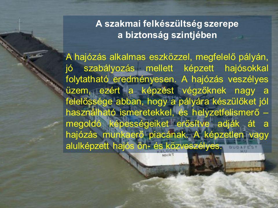 A szakmai felkészültség szerepe a biztonság szintjében A hajózás alkalmas eszközzel, megfelelő pályán, jó szabályozás mellett képzett hajósokkal folyt
