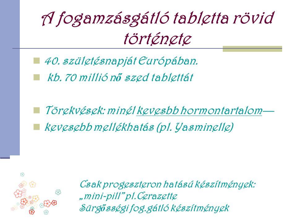 A fogamzásgátló tabletta rövid története  40. születésnapját Európában.  kb. 70 millió n ő szed tablettát  Törekvések: minél kevesbb hormontartalom