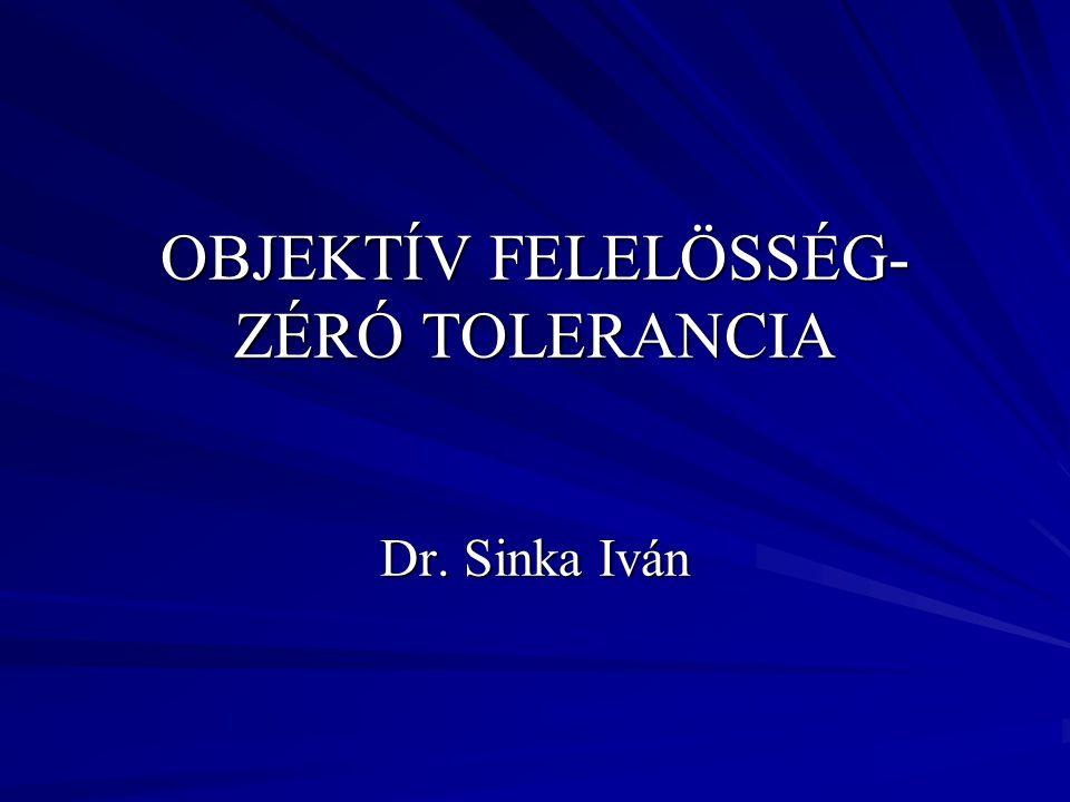 OBJEKTÍV FELELÖSSÉG- ZÉRÓ TOLERANCIA Dr. Sinka Iván