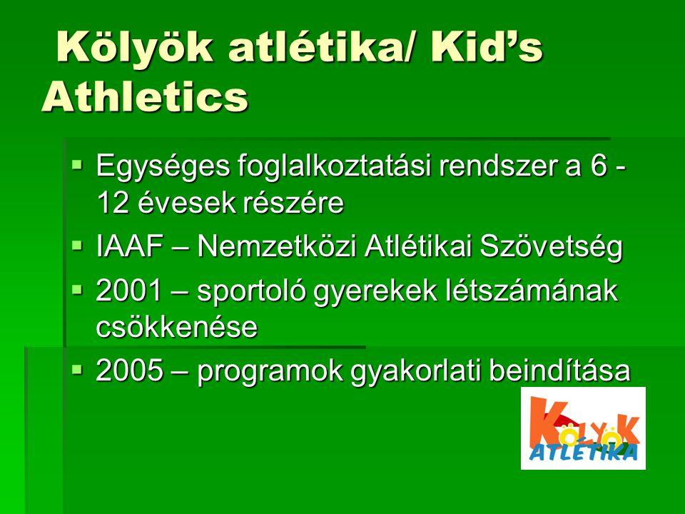 Kölyök atlétika/ Kid's Athletics Kölyök atlétika/ Kid's Athletics  Egységes foglalkoztatási rendszer a 6 - 12 évesek részére  IAAF – Nemzetközi Atlétikai Szövetség  2001 – sportoló gyerekek létszámának csökkenése  2005 – programok gyakorlati beindítása