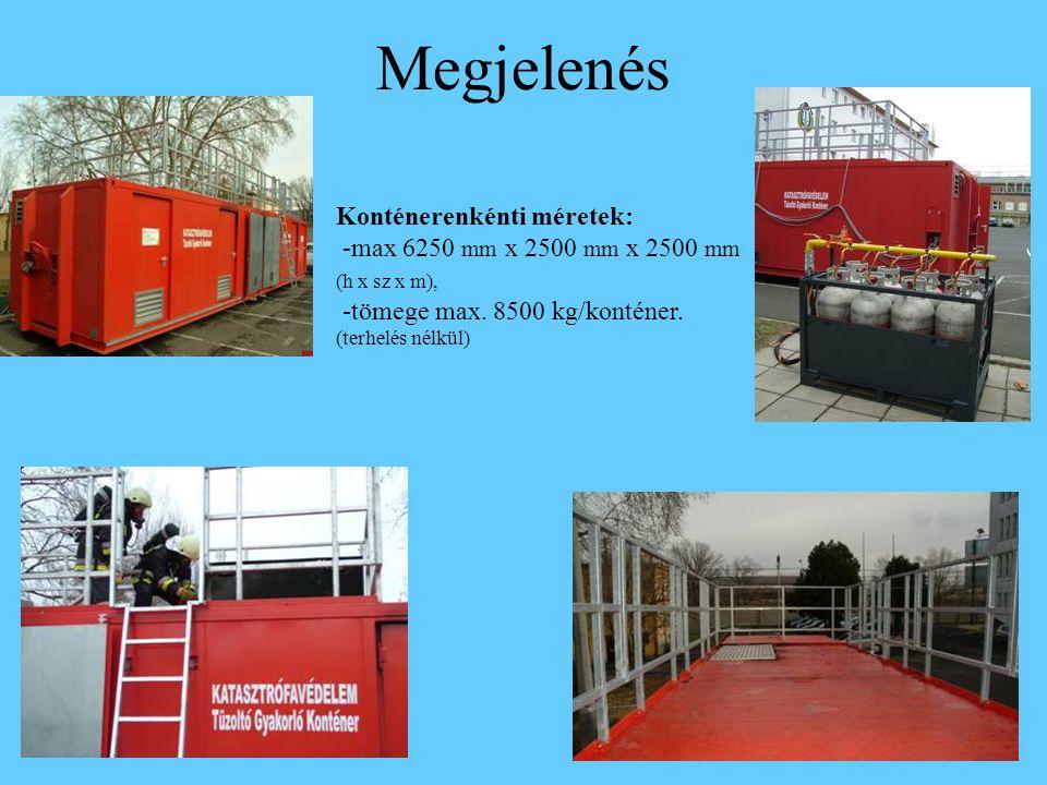 Megjelenés Konténerenkénti méretek: -max 6250 mm x 2500 mm x 2500 mm (h x sz x m), -tömege max. 8500 kg/konténer. (terhelés nélkül)