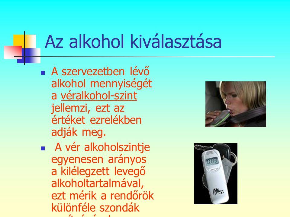 Az alkohol kiválasztása  A szervezetben lévő alkohol mennyiségét a véralkohol-szint jellemzi, ezt az értéket ezrelékben adják meg.  A vér alkoholszi