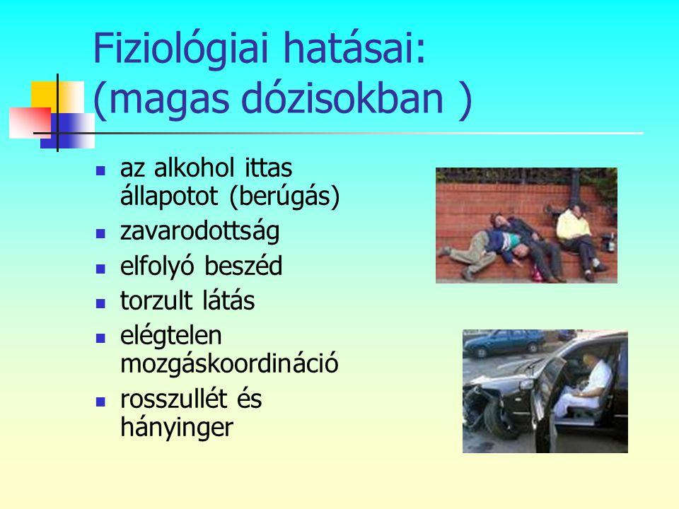 Fiziológiai hatásai: (magas dózisokban )  az alkohol ittas állapotot (berúgás)  zavarodottság  elfolyó beszéd  torzult látás  elégtelen mozgáskoo