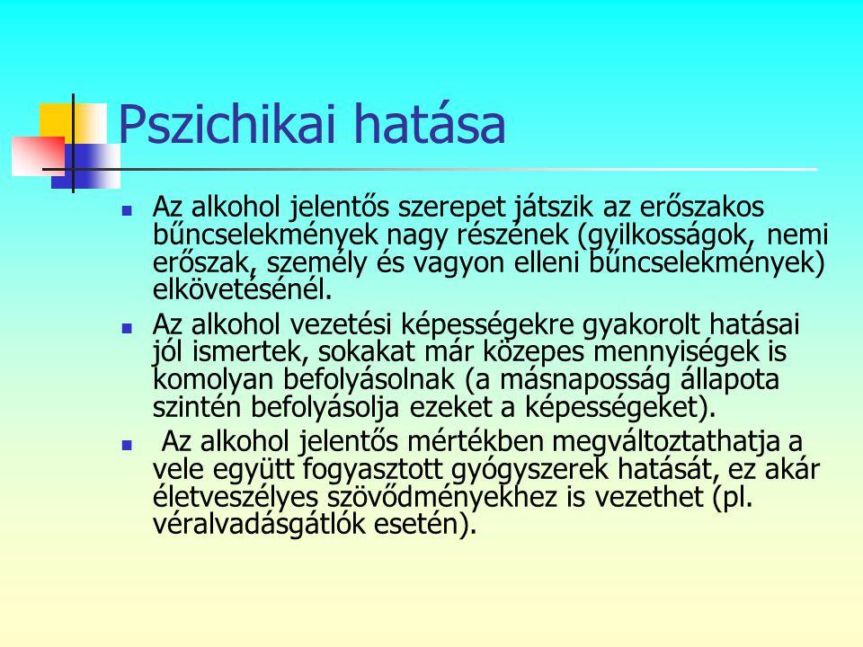 Pszichikai hatása  Az alkohol jelentős szerepet játszik az erőszakos bűncselekmények nagy részének (gyilkosságok, nemi erőszak, személy és vagyon ell
