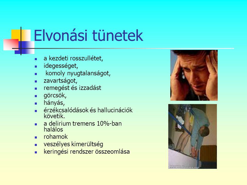 Elvonási tünetek  a kezdeti rosszullétet,  idegességet,  komoly nyugtalanságot,  zavartságot,  remegést és izzadást  görcsök,  hányás,  érzékc