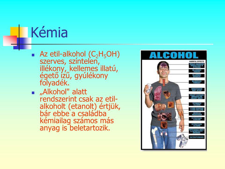 """Kémia  Az etil-alkohol (C 2 H 5 OH) szerves, színtelen, illékony, kellemes illatú, égető ízű, gyúlékony folyadék.  """"Alkohol"""