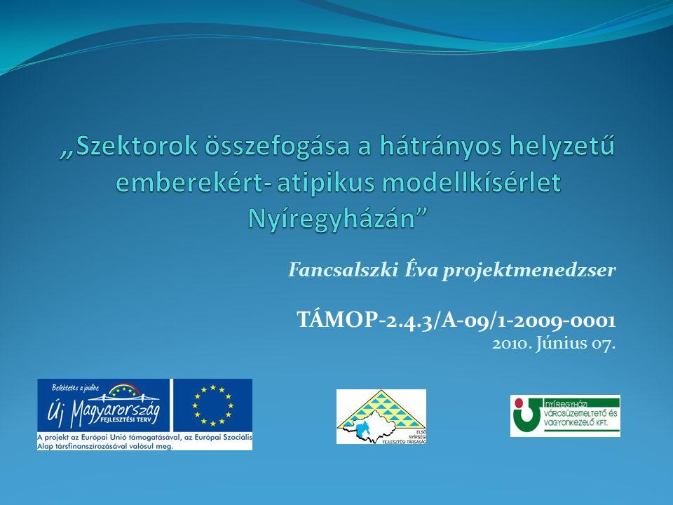 Fancsalszki Éva projektmenedzser TÁMOP-2.4.3/A-09/1-2009-0001 2010. Június 07.