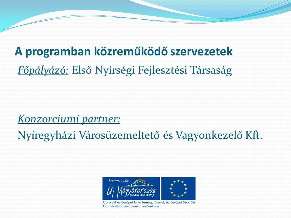 A programban közreműködő szervezetek Főpályázó: Első Nyírségi Fejlesztési Társaság Konzorciumi partner: Nyíregyházi Városüzemeltető és Vagyonkezelő Kft.