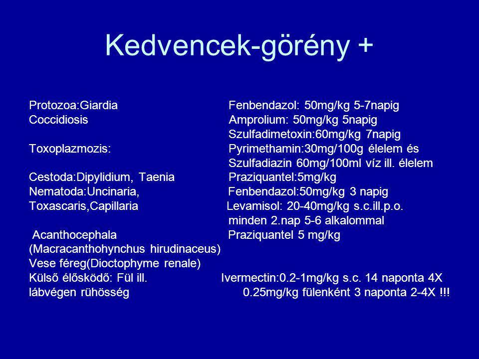 Kedvencek-görény + Protozoa:Giardia Fenbendazol: 50mg/kg 5-7napig Coccidiosis Amprolium: 50mg/kg 5napig Szulfadimetoxin:60mg/kg 7napig Toxoplazmozis: