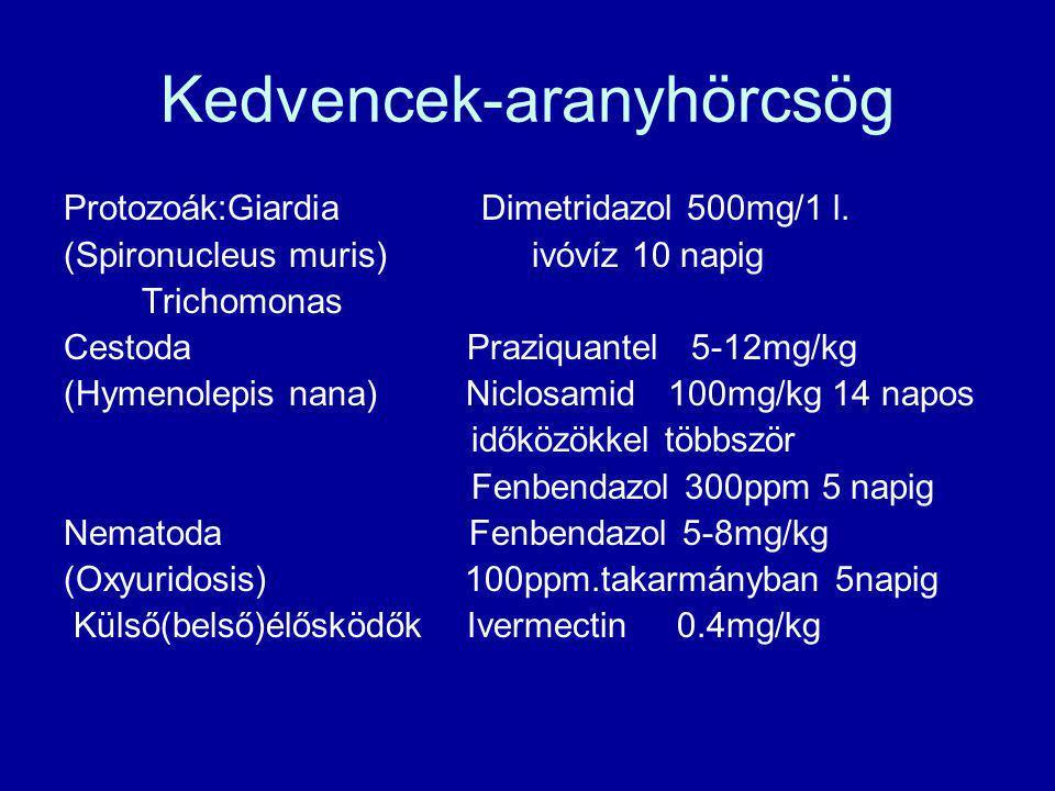 Kedvencek-aranyhörcsög Protozoák:Giardia Dimetridazol 500mg/1 l. (Spironucleus muris) ivóvíz 10 napig Trichomonas Cestoda Praziquantel 5-12mg/kg (Hyme