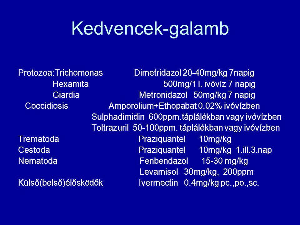 Kedvencek-galamb Protozoa:Trichomonas Dimetridazol 20-40mg/kg 7napig Hexamita 500mg/1 l. ivóvíz 7 napig Giardia Metronidazol 50mg/kg 7 napig Coccidios