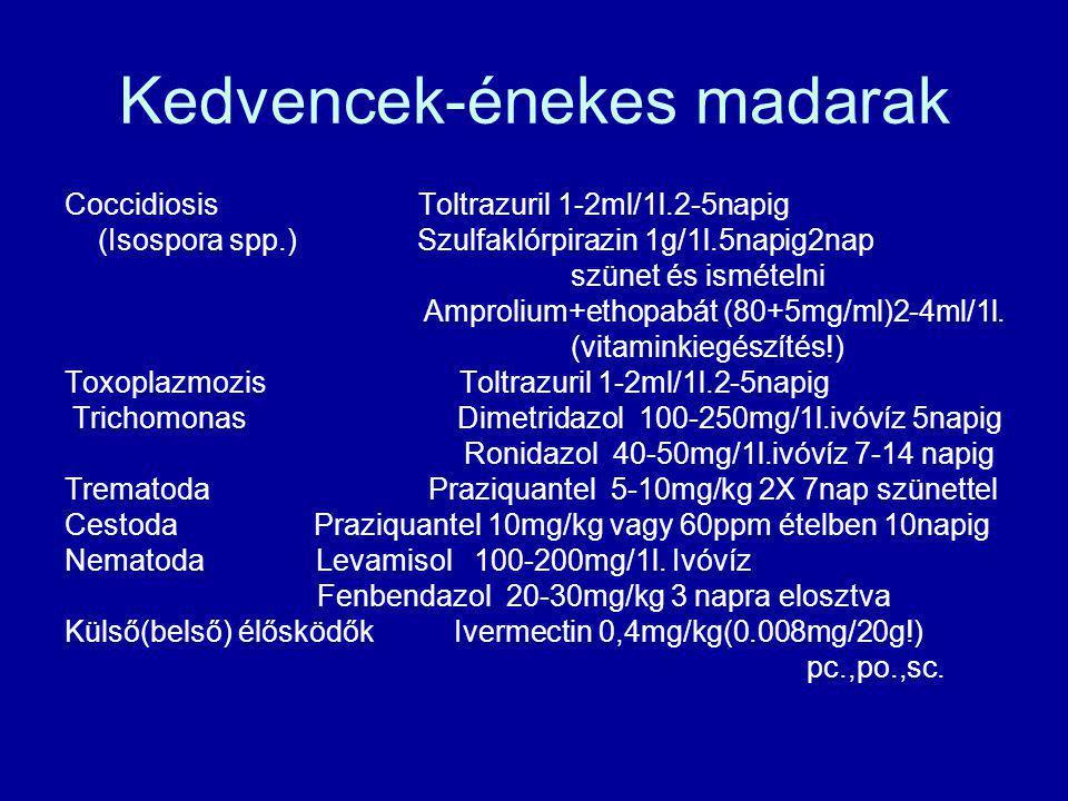 Kedvencek-énekes madarak Coccidiosis Toltrazuril 1-2ml/1l.2-5napig (Isospora spp.) Szulfaklórpirazin 1g/1l.5napig2nap szünet és ismételni Amprolium+et