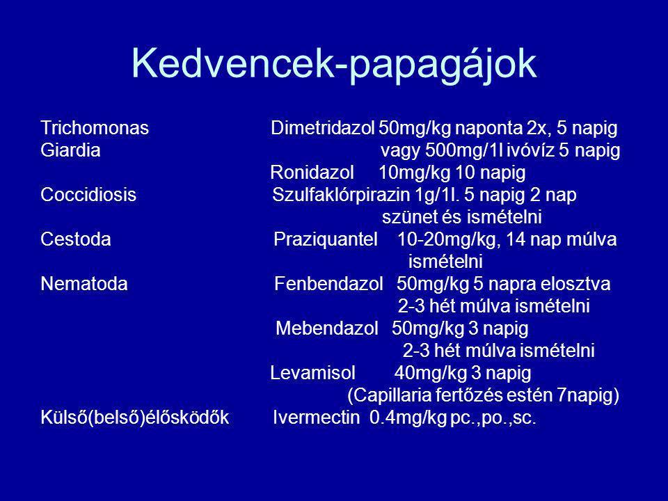Kedvencek-papagájok Trichomonas Dimetridazol 50mg/kg naponta 2x, 5 napig Giardia vagy 500mg/1l ivóvíz 5 napig Ronidazol 10mg/kg 10 napig Coccidiosis S