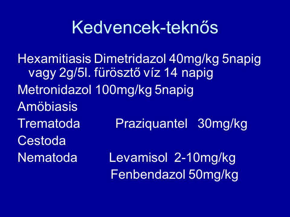 Kedvencek-teknős Hexamitiasis Dimetridazol 40mg/kg 5napig vagy 2g/5l. fürösztő víz 14 napig Metronidazol 100mg/kg 5napig Amöbiasis Trematoda Praziquan