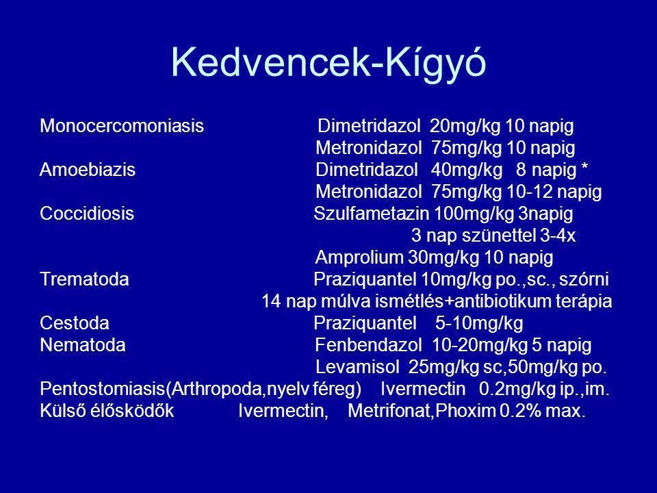 Kedvencek-Kígyó Monocercomoniasis Dimetridazol 20mg/kg 10 napig Metronidazol 75mg/kg 10 napig Amoebiazis Dimetridazol 40mg/kg 8 napig * Metronidazol 7