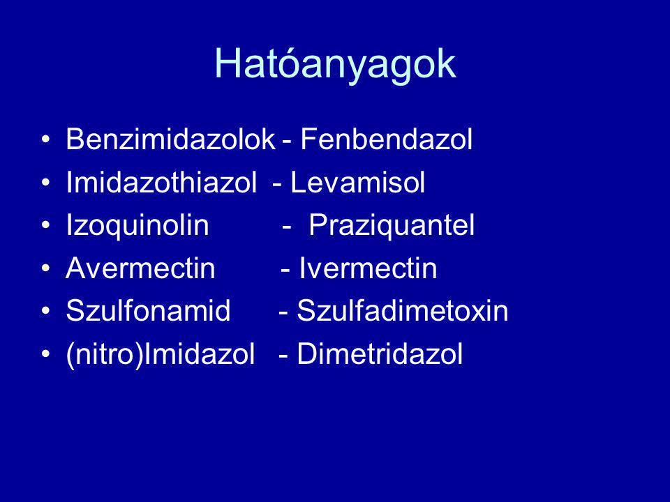 Hatóanyagok •Benzimidazolok - Fenbendazol •Imidazothiazol - Levamisol •Izoquinolin - Praziquantel •Avermectin - Ivermectin •Szulfonamid - Szulfadimeto