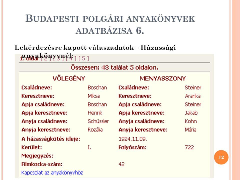 B UDAPESTI POLGÁRI ANYAKÖNYVEK ADATBÁZISA 6.