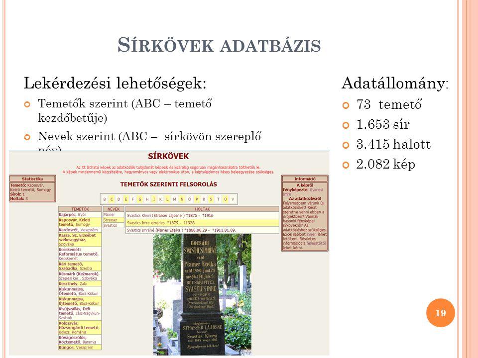 S ÍRKÖVEK ADATBÁZIS Lekérdezési lehetőségek: Temetők szerint (ABC – temető kezdőbetűje) Nevek szerint (ABC – sírkövön szereplő név) Böngészés a sírkövek között 19 Adatállomány : 73 temető 1.653 sír 3.415 halott 2.082 kép