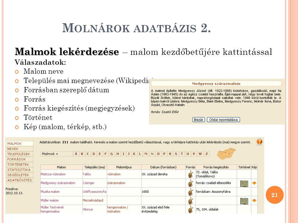 M OLNÁROK ADATBÁZIS 2.
