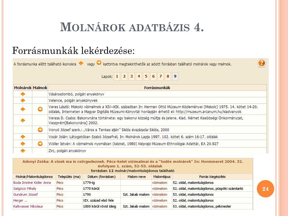 M OLNÁROK ADATBÁZIS 4. 24 Forrásmunkák lekérdezése: