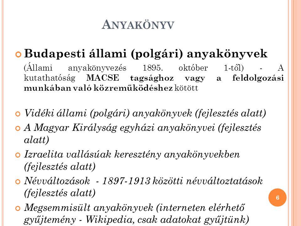 B UDAPESTI POLGÁRI ANYAKÖNYVEK ADATBÁZISA 1.