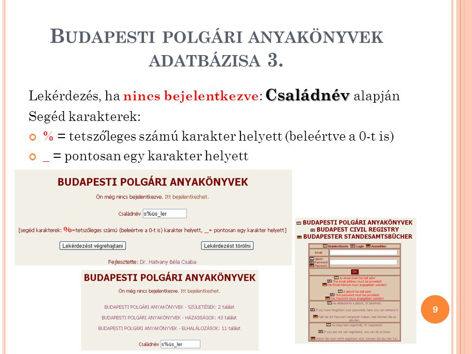 B UDAPESTI POLGÁRI ANYAKÖNYVEK ADATBÁZISA 4.