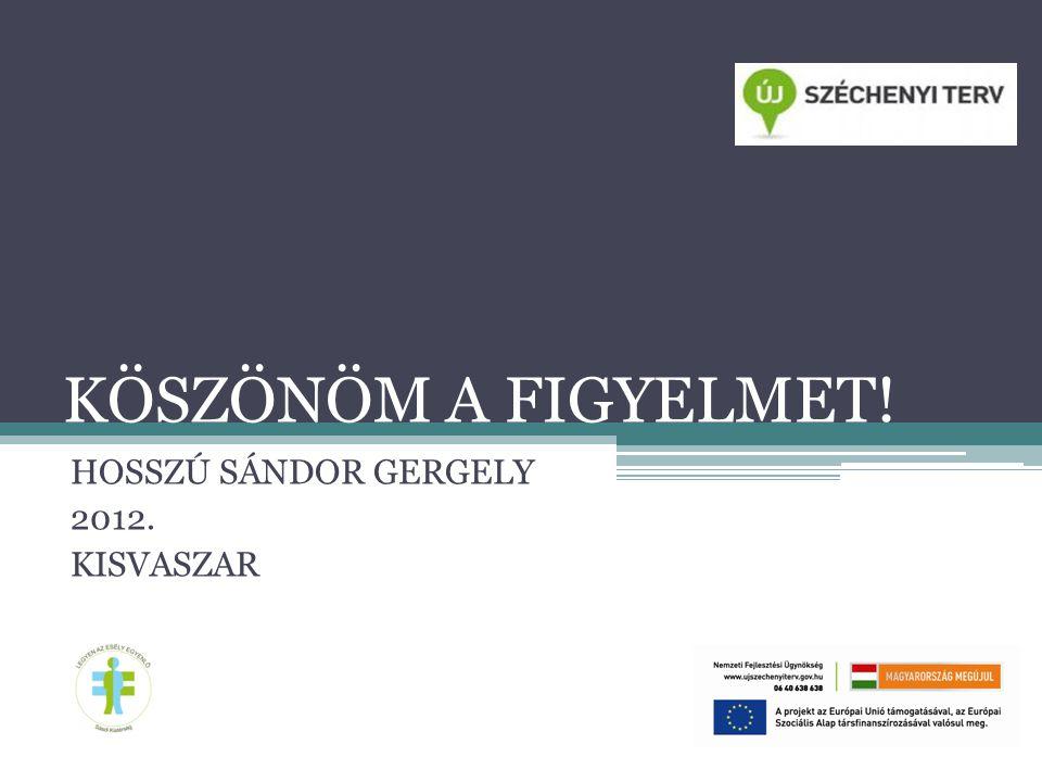 KÖSZÖNÖM A FIGYELMET! HOSSZÚ SÁNDOR GERGELY 2012. KISVASZAR