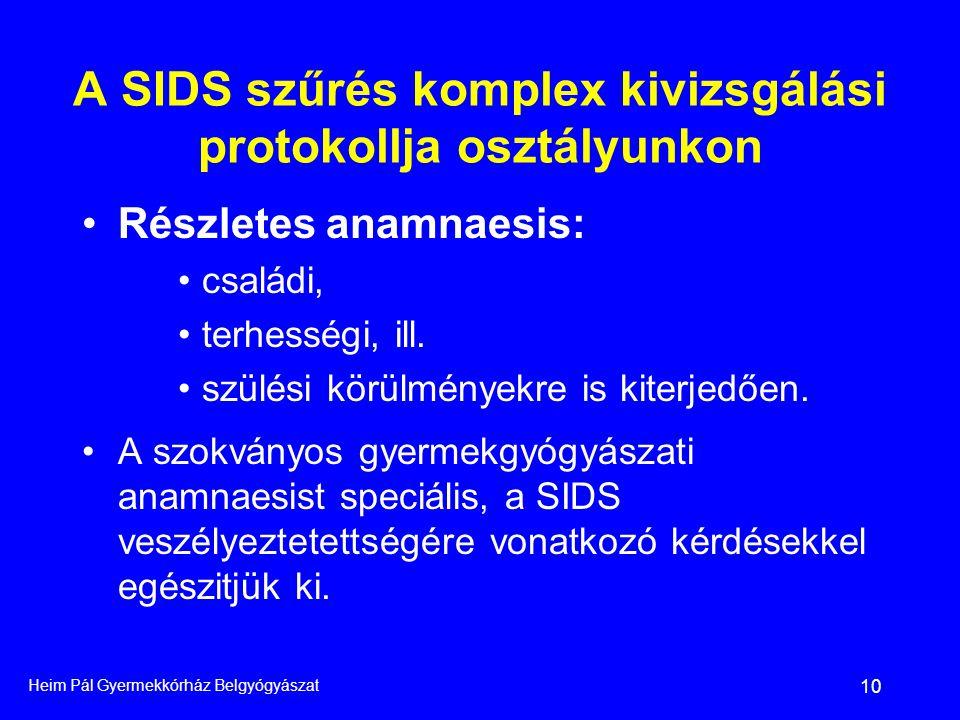 Heim Pál Gyermekkórház Belgyógyászat 10 A SIDS szűrés komplex kivizsgálási protokollja osztályunkon •Részletes anamnaesis: •családi, •terhességi, ill.