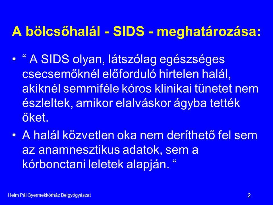 Heim Pál Gyermekkórház Belgyógyászat 3 A SIDS gyakorisága •Az összes csecsemő halál 1-2 ezreléke •Magyarországon megközelítőleg 6-12 csecsemő évente •Kormegoszlás: •Egy hónapos-egy éves kor között beszélünk SIDS-ről •2-4 hónaposan tetőzik az előfordulása.