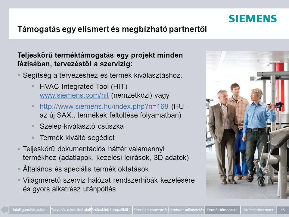 15 Intelligens kényelemTervezés rekord idő alattSzéleskörű kompatibilitás Szerelési koncepció Rendszer működtetésTermék támogatásProfesszionizmus Támogatás egy elismert és megbízható partnertől Teljeskörű terméktámogatás egy projekt minden fázisában, tervezéstől a szervizig:  Segítség a tervezéshez és termék kiválasztáshoz:  HVAC Integrated Tool (HIT) www.siemens.com/hit (nemzetközi) vagy www.siemens.com/hit  http://www.siemens.hu/index.php?n=168 (HU – az új SAX..