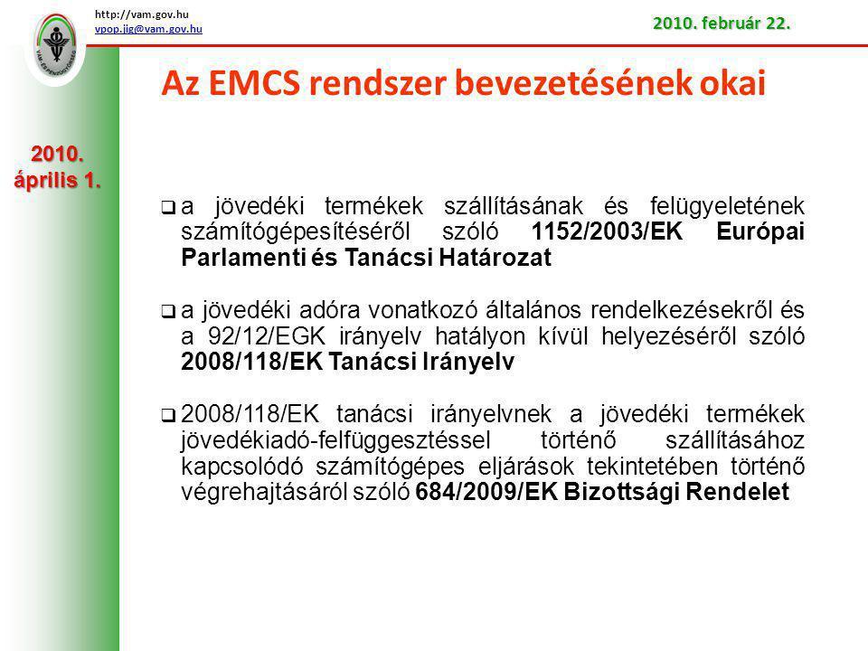 Az EMCS rendszer a hazai jövedéki szabályozásban A nemzeti jogba történő átültetése: a jövedéki adóról és a jövedéki termékek forgalmazásának különös szabályairól szóló 2003.