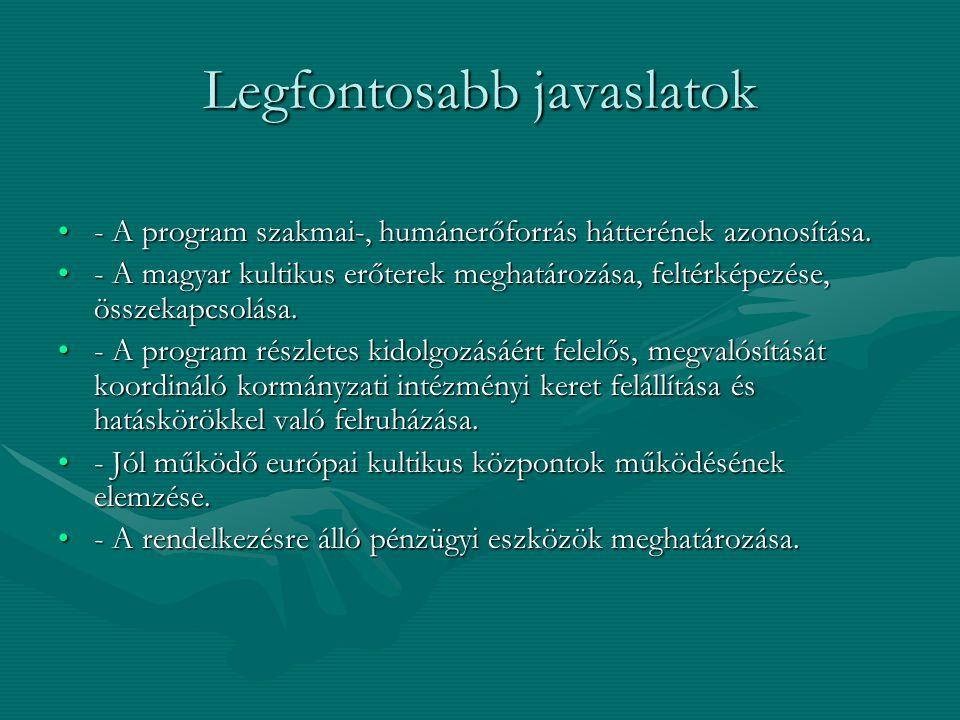 Legfontosabb javaslatok •- A program szakmai-, humánerőforrás hátterének azonosítása. •- A magyar kultikus erőterek meghatározása, feltérképezése, öss