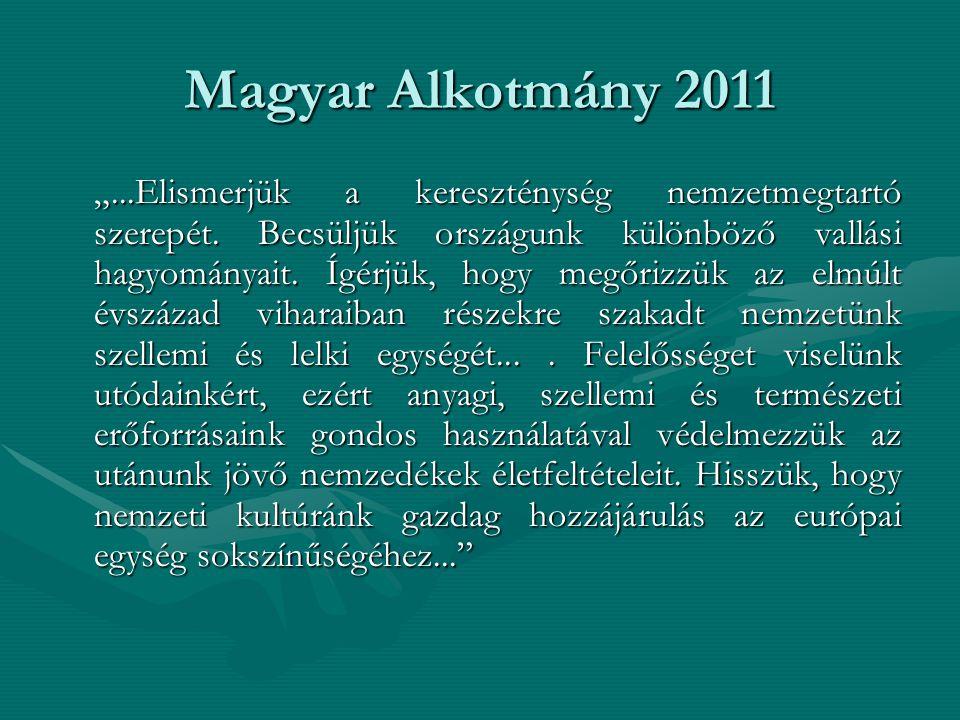 """Magyar Alkotmány 2011 """"...Elismerjük a kereszténység nemzetmegtartó szerepét. Becsüljük országunk különböző vallási hagyományait. Ígérjük, hogy megőri"""