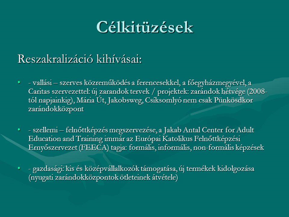 Célkitüzések Reszakralizáció kihívásai: •- vallási – szerves közreműködés a ferencesekkel, a főegyházmegyével, a Caritas szervezettel: új zarandok ter