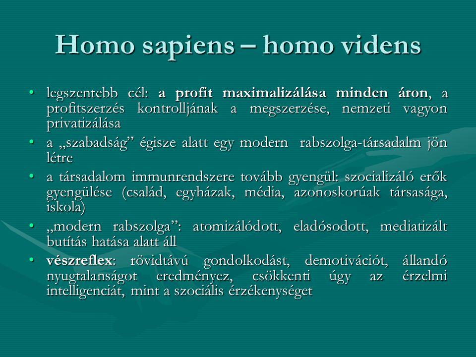 Homo sapiens – homo videns •legszentebb cél: a profit maximalizálása minden áron, a profitszerzés kontrolljának a megszerzése, nemzeti vagyon privatiz