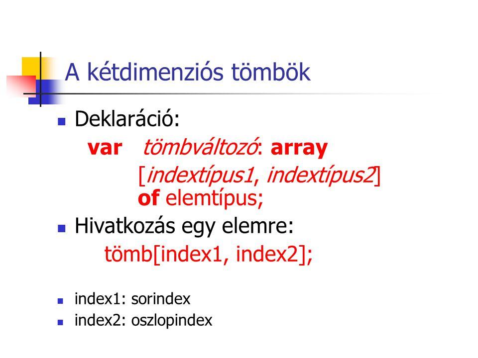  Deklaráció: var tömbváltozó: array [indextípus1, indextípus2] of elemtípus;  Hivatkozás egy elemre: tömb[index1, index2];  index1: sorindex  index2: oszlopindex