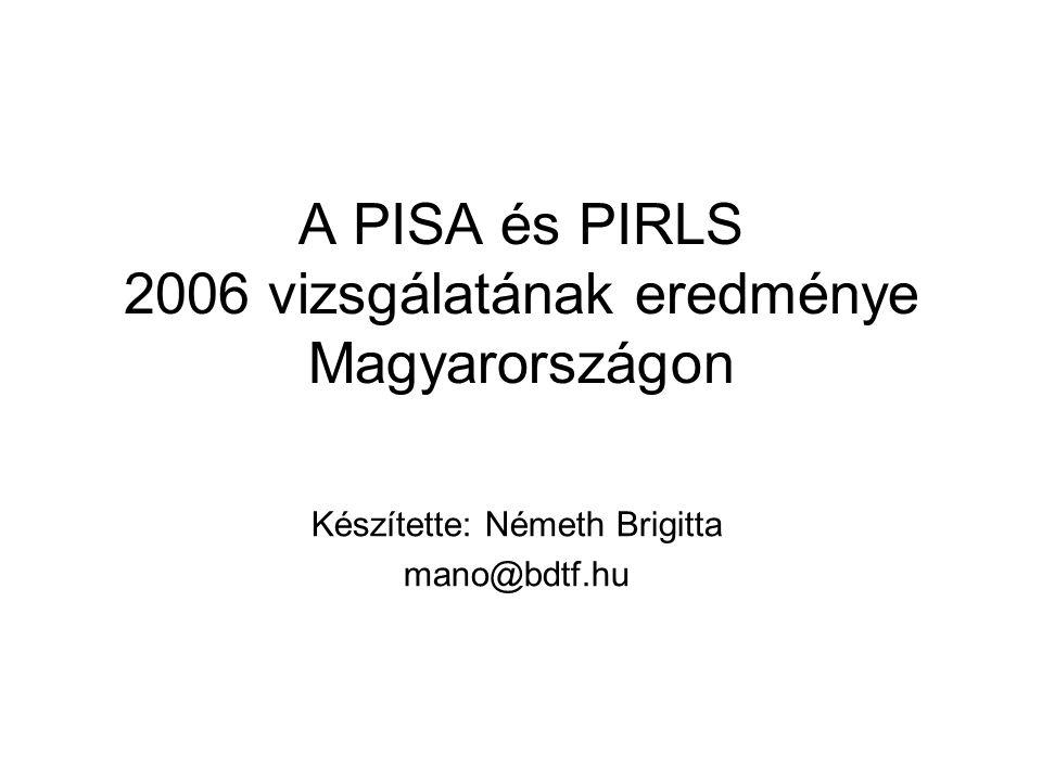 A PISA és PIRLS 2006 vizsgálatának eredménye Magyarországon Készítette: Németh Brigitta mano@bdtf.hu