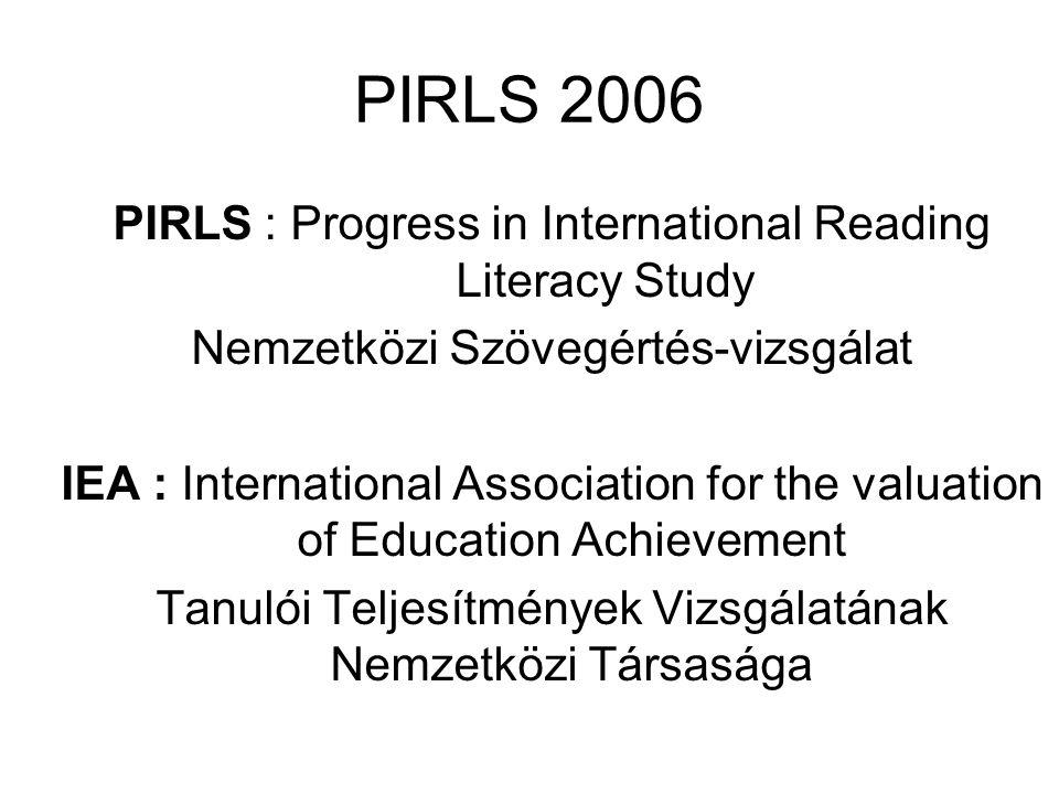 PIRLS 2006 PIRLS : Progress in International Reading Literacy Study Nemzetközi Szövegértés-vizsgálat IEA : International Association for the valuation