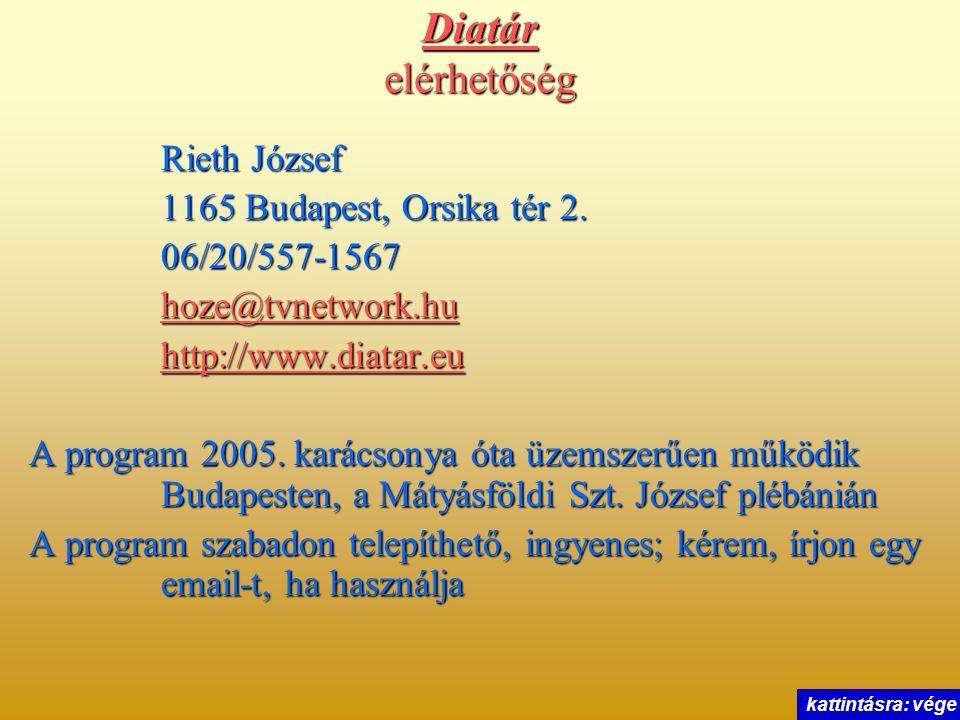 Diatár elérhetőség Rieth József 1165 Budapest, Orsika tér 2. 06/20/557-1567 hoze@tvnetwork.hu http://www.diatar.eu A program 2005. karácsonya óta üzem